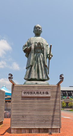 KOCHI, JAPAN - JULY 19, 2016: Statue of Nakaoka Shintaro near Kochi railway station, Japan. Nakaoka Shintaro (1838-1867) was an associate of Sakamoto Ryoma in anti-shogun movement of Bakumatsu period