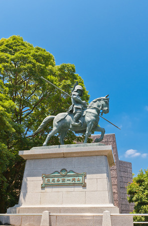 kochi: KOCHI, JAPAN - JULY 19, 2016: Equestrian statue of Yamanouchi Kazatoyo near Kochi castle, Japan. Yamanouchi Kazatoyo was the founder of Kochi castle (1601)