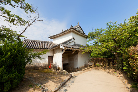 HIMEJI, JAPAN - JULY 21, 2016: Ni-no-mon (Second) Gate of Himeji castle (White Egret Castle, circa 1609). Himeji-jo is National Treasure of Japan and UNESCO World Heritage Site