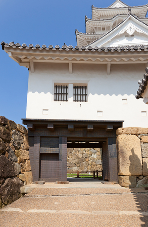 HIMEJI, JAPAN - JULY 21, 2016: Bizenmon Gate of Himeji castle (White Egret Castle, circa 1609). Himeji-jo is National Treasure of Japan and UNESCO World Heritage Site Editorial