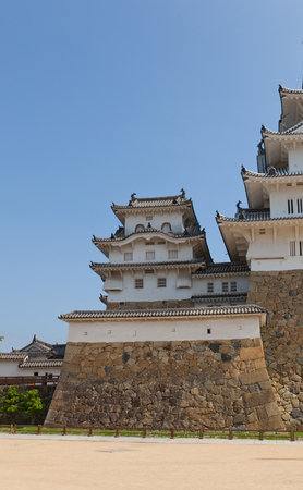 HIMEJI, JAPAN - JULY 21, 2016: West small keep (kotenshu) of Himeji castle (circa 1609) after repairing works ended 2015.
