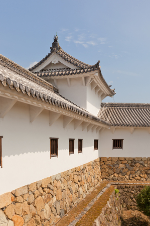 HIMEJI, JAPAN - JULY 21, 2016: Hyakkenroka (Connecting Corridor) in West Bailey of Himeji castle (White Egret Castle, 1609). Himeji-jo is National Treasure of Japan and UNESCO World Heritage Site