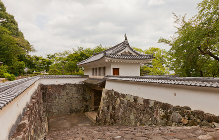 TATSUNO, JAPAN - JULY 21, 2016: Reconstructed Yaguramon Gate of Tatsuno castle in Hyogo prefecture, Japan. Castle was erected in 1577 as a subordinate fort to Himeji castle