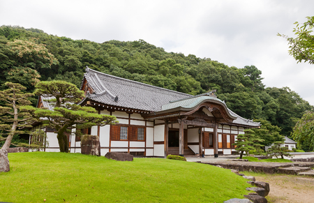 TATSUNO, JAPAN - JULY 21, 2016: Reconstructed Honmaru Goten (Palace of the main bailey) of Tatsuno castle in Hyogo prefecture, Japan. Castle was erected in 1577 as a subordinate fort to Himeji castle Editorial