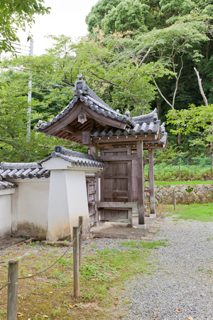 TATSUNO, JAPAN - JULY 21, 2016: Koraimon Gate of Tatsuno castle in Hyogo prefecture, Japan. Castle was erected in 1577 as a subordinate fort to Himeji castle