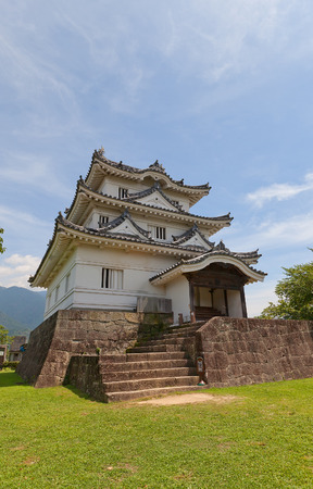 UWAJIMA, JAPAN - JULY 22, 2016: Main keep (Tenshukaku, circa 16th c.) of Uwajima castle, Shikoku Island, Japan. Uwajima is one of only 12 survived castles in Japan