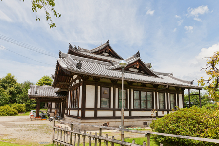 YAMATO KORIYAMA, JAPAN - JULY 23, 2016: Administrative building on the grounds of Yamato Koriyama castle, Nara Prefecture, Japan. Former Public Library, erected in 1908 Editorial