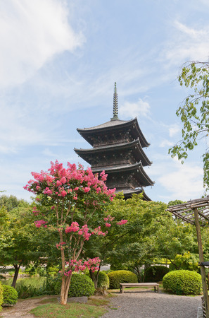 KYOTO, JAPAN - JULY 23, 2016: Five-story pagoda (Gojunoto, circa 1644) of Toji Temple in Kyoto. The tallest wooden tower in Japan (54.8 m), symbol of Kyoto, National Treasure and UNESCO site