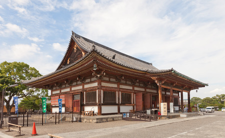 KYOTO, JAPAN - JULY 23, 2016: Jikido Hall (circa 1930) of Toji Temple in Kyoto. Originally was the temple refectory, now serves as souvenirs shop and storage room