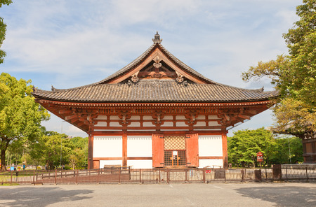 KYOTO, JAPAN - JULY 23, 2016: Side view of the Kodo (Lecture) Hall (circa 1491) of Toji Temple in Kyoto. Important Cultural Property and UNESCO site Editorial