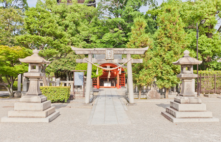 KYOTO, JAPAN - JULY 23, 2016: Yashima Shinto Shrine on the grounds of Toji Buddhist Temple in Kyoto. Dedicated to Oonamuchi-no-kami, lord of the land