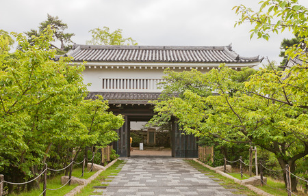 KISHIWADA, JAPAN - JULY 24, 2016: Main gate (yaguramon type) of Kishiwada castle, Japan. Castle was erected in 1585, burned down in 1827, reconstructed in 1954-69