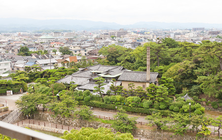 KISHIWADA, JAPAN - JULY 24, 2016: View of Gofuso residence and garden (circa 1930s) from Kishiwada castle in Kisiwada town, Japan. City designated historical asset