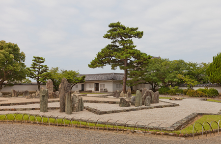 KISHIWADA, JAPAN - JULY 24, 2016: Rock garden (Hachijin-no-Niwa) of Kishiwada castle, Japan. Designed and constructed by Mirei Shigemori Editorial