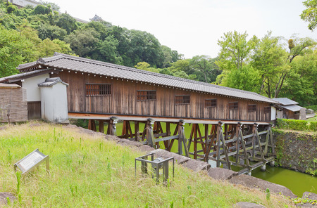 WAKAYAMA, JAPAN - JULY 24, 2016: Ohashiroka covered bridge of Wakayama castle, Japan. Spans Ninomaru and Nishinomaru baileys. Reconstructed in 2006 Editorial