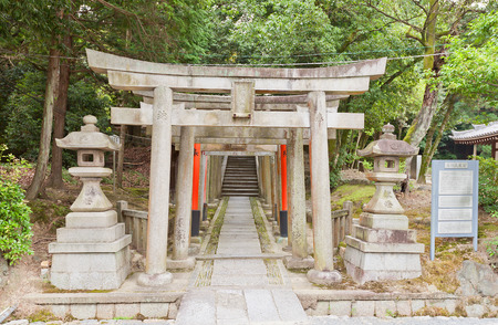 KYOTO, JAPAN - JULY 25, 2016: Gosha Jojukyu Shinto Shrine on the grounds of Tofuku-ji Buddhist Temple in Kyoto. Founded in 925 by regent Fujiwara Tadahira Editorial
