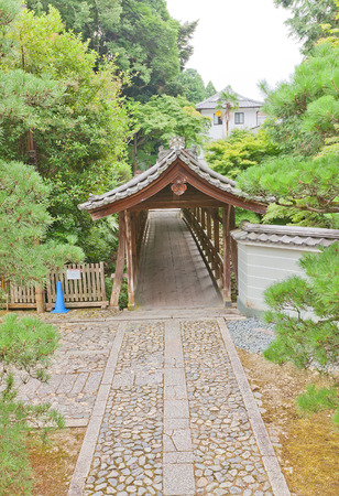 KYOTO, JAPAN - JULY 25, 2016: Roofed bridge towards Ryogin-an sub-temple in in Kyoto. Ryogin-an is located on the grounds of Tofuku-ji Buddhist Temple Editorial