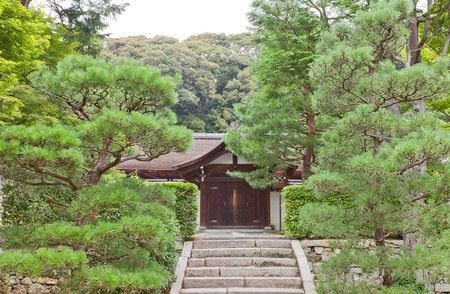 KYOTO, JAPAN - JULY 25, 2016: Entrance to abbot quarters (Hojo) of Ryogin-an sub-temple in Tofuku-ji Temple in Kyoto. Hojo is a National Treasure of Japan Editorial