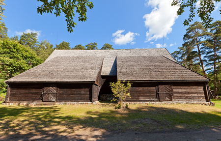 RIGA, LATVIA - JUNE 13, 2016: Harbour warehouse (circa 1697) of fishermen village of Kurzeme ethnic group. Exhibited in Ethnographic Open-Air Museum of Latvia since 1940