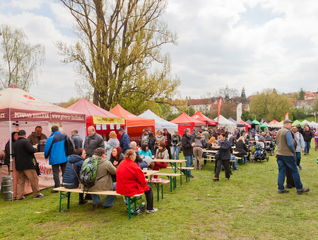 PRAGUE, CZECH REPUBLIC - MAY 01, 2017: Festival of microbreweries  Prvni Pivni Maj took place 1st of May in Prague near Brevnov Monastery. 20 Czech and Moravian mini breweries were presented