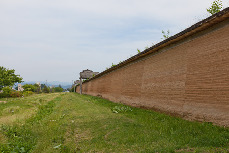 MORIOKA, JAPAN - MAY 22, 2017: Reconstructed clay wall (tsuijibei) and watchtowers of Shiwa Castle in Morioka, Japan. Castle was erected in 803 against local emishi tribes and abandoned in 811 Redakční
