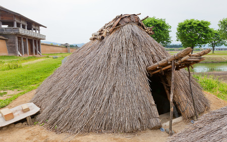 MORIOKA, JAPAN - MAY 22, 2017: Reconstructed residential barracks (9th c.) of Shiwa Castle in Morioka, Japan. Castle was erected in 803 against local emishi tribes and abandoned in 811