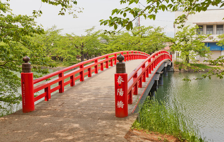 HIROSAKI, JAPAN - MAY 23, 2017: Shunyo-bashi Bridge of Hirosaki Castle, Japan. Castle was erected by Tsugaru Nobuhira in 1611, designated National Historic Site in 1952