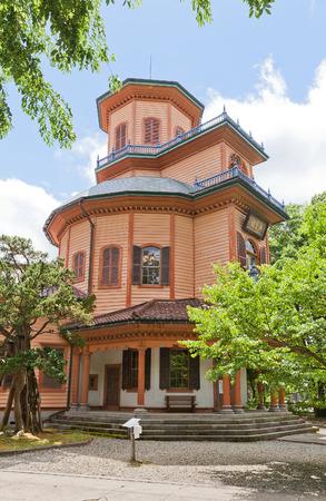 YAMAGATA, JAPAN - MAY 28, 2017: Former Prefectural Hospital Saiseikan (circa 1878) in Kajo Park of Yamagata. Today hosts Local History Museum, National cultural property of Japan since 1966