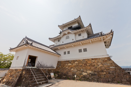 KAKEGAWA, JAPAN - MAY 29, 2017: Reconstructed Main Keep (donjon) of Kakegawa Castle, Japan. Castle was founded in 1497 by Asahina Yasuhiro, demolished in 1869 and reconstructed in 1993