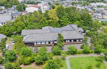 KAKEGAWA, JAPAN - MAY 29, 2017: Survived Palace of the Second Bailey (Ninomaru Goten, rebuilt in 1861) of Kakegawa Castle, Japan. Castle was founded in 1497 by Asahina Yasuhiro and demolished in 1869 Editorial