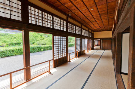 KAKEGAWA, JAPAN - MAY 29, 2017: Interior of Palace of Second Bailey (Ninomaru Goten, rebuilt in 1861) of Kakegawa Castle, Japan. Castle was founded in 1497 by Asahina Yasuhiro and demolished in 1869