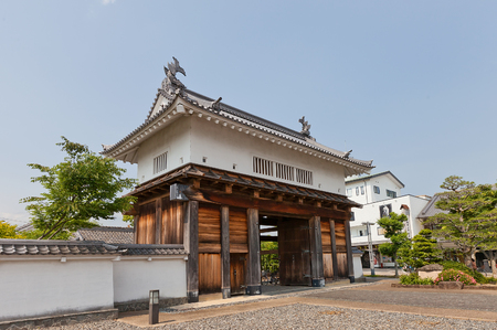KAKEGAWA, JAPAN - MAY 29, 2017: Reconstructed Main Gate (Otemon) of Kakegawa Castle, Japan. Castle was founded in 1497 by Asahina Yasuhiro, demolished in 1869 and reconstructed in 1993 Editorial