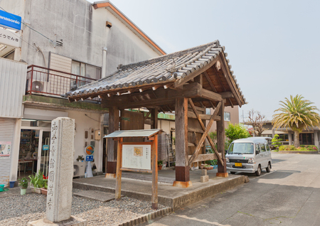 KAKEGAWA, JAPAN - MAY 29, 2017: Original Fuki Gate (circa 17th c.) of Kakegawa Castle now belongs to Enman-ji Temple in Kakegawa, Japan. Castle was founded in 1497 by Asahina Yasuhiro and demolished in 1869 Editorial