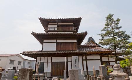 AIZUWAKAMATSU, JAPAN - MAY 30, 2017: Survived Gosangai Turret of Aizu-Wakamatsu Castle (Tsuruga-jo, founded in 1384), Japan. Was relocated to Amida-ji Temple in 1686 Editorial