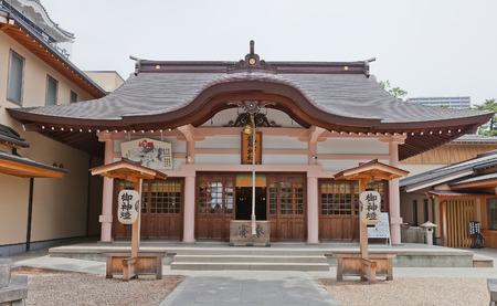 OKAZAKI JAPAN - MAY 31, 2017: Tatsuki Shinto Shrine in Okazaki Castle, Japan. Shrine is dedicated to deified shogun Tokugawa Ieyasu who was born in Okazaki castle