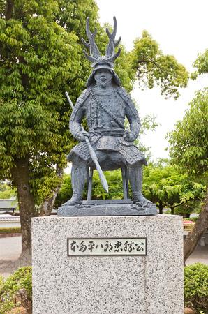 OKAZAKI, JAPAN - MAY 31, 2017: Statue of Honda Tadakatsu in Okazaki Castle, Japan. Tadakatsu (1548-1610) was samurai and one of four trusted generals of shogunTokugawa Ieyasu