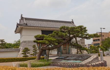 OKAZAKI JAPAN - MAY 31, 2017: Reconstructed Main Gate (Otemon) of Okazaki Castle, Japan. Castle was founded in 1455 by Saigo Tsugiyori, shogun Tokugawa Ieyasu was born here in 1543 Editorial