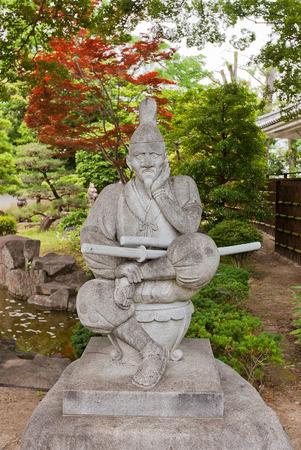 OKAZAKI, JAPAN - MAY 31, 2017: Statue of Tokugawa Ieyasu in Okazaki Castle, Japan. Ieyasu (1543-1616) was samurai and first shogun of Edo shogunate, which effectively ruled Japan for 250 years