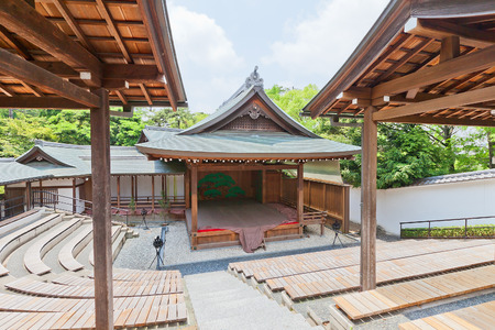 OKAZAKI, JAPAN - MAY 31, 2017: Noh Theatre of Second Bailey (Ninomaru Nohgakudo) in Okazaki Castle, Japan. Castle was founded in 1455 by Saigo Tsugiyori, shogun Tokugawa Ieyasu was born here in 1543