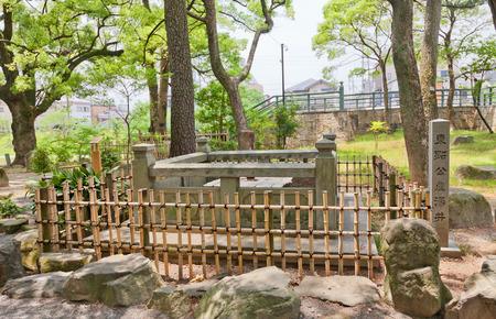 OKAZAKI, JAPAN - MAY 31, 2017: Well of first bath for newborn Tokugawa Ieyasu in Okazaki Castle, Japan. Ieyasu (1543-1616) was samurai and first shogun of Edo shogunate