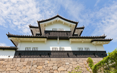 SHIRAKAWA, JAPAN – JUNE 2, 2017: Reconstructed Main Keep (donjon) of Shirakawa (Komine) Castle, Japan. Castle was founded in 1340, rebuilt in 1627, destroyed in war of 1868 and reconstructed in 1991