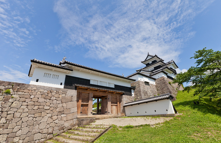 Reconstructed Donjon and Main Gate of Shirakawa (Komine) Castle, Japan. Castle was founded in 1340, rebuilt in 1627, destroyed in war of 1868 and reconstructed in 1991