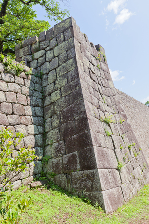 SHIRAKAWA, JAPAN – JUNE 2, 2017: Stone walls of Shirakawa (Komine) Castle, Japan. Castle was founded in 1340, rebuilt in 1627, destroyed in war of 1868 and reconstructed in 1991