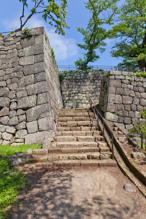SHIRAKAWA, JAPAN – JUNE 2, 2017: Sait of former Taikomon Gate of Shirakawa (Komine) Castle, Japan. Castle was founded in 1340, rebuilt in 1627, destroyed in war of 1868 and reconstructed in 1991