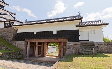 SHIRAKAWA, JAPAN – JUNE 2, 2017: Reconstructed Main Gate of Shirakawa (Komine) Castle, Japan. Castle was founded in 1340, rebuilt in 1627, destroyed in war of 1868 and reconstructed in 1991