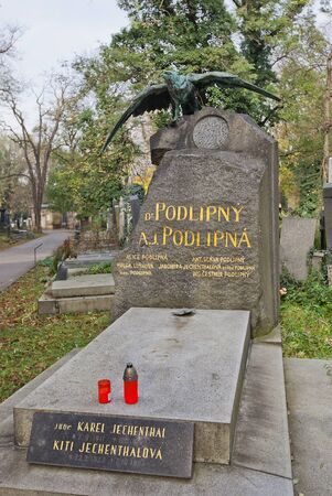 PRAGUE, CZECH REPUBLIC - NOVEMBER 4, 2017: Tomb of Jan Podlipny (1848-1914) and his relatives on Olsany Cemetery in Prague. Podlipny was a Mayor of Prague (1897-1900) and deputy of Bohemian Parliament