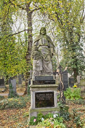 PRAGUE, CZECH REPUBLIC - NOVEMBER 4, 2017: Tomb of Emanuel Boricky (1840-1881) and his relatives on Olsany Cemetery in Prague. Boricky was Czech geologist, mineralogist and professor