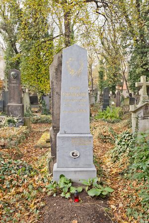 PRAGUE, CZECH REPUBLIC - NOVEMBER 4, 2017: Tomb of Josef Frankovsky (1840-1901) and his relatives on Olsany Cemetery in Prague. Frankovsky was Czech comic actor of National Theatre