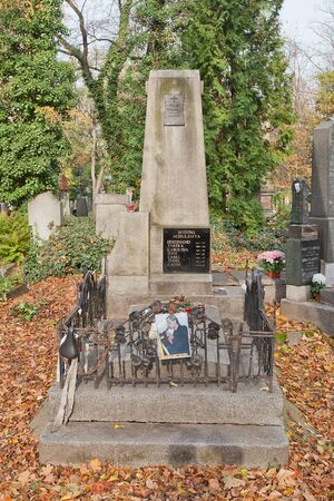 PRAGUE, CZECH REPUBLIC - NOVEMBER 4, 2017: Tomb of Filip Topol (1965-2013) and his relatives on Olsany Cemetery in Prague. Topol was a Czech singer, leader of rock band Psi vojaci (Dog Soldiers) 新聞圖片