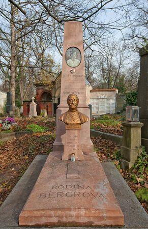 Prague, Czech Republic - November 4, 2017: Tomb of Augustin Berger (1861-1945) and his relatives on Olsany Cemetery in Prague. Berger was a Czech dancer, choreographer, and ballet master